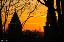 soleil couchant vu depuis le Kremlin